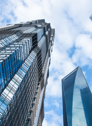 Glass buildings and sky