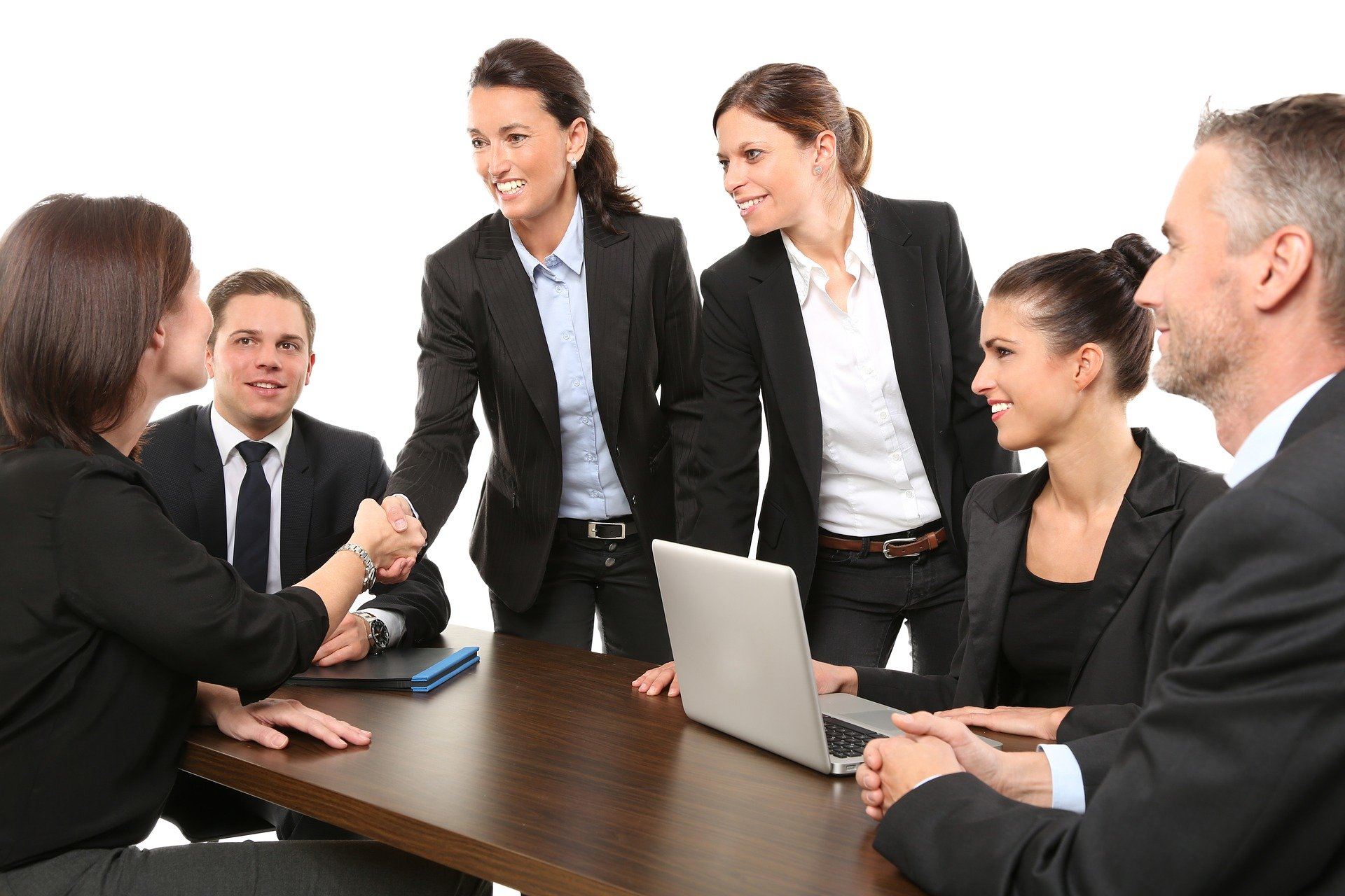Professional men and women in a meeting