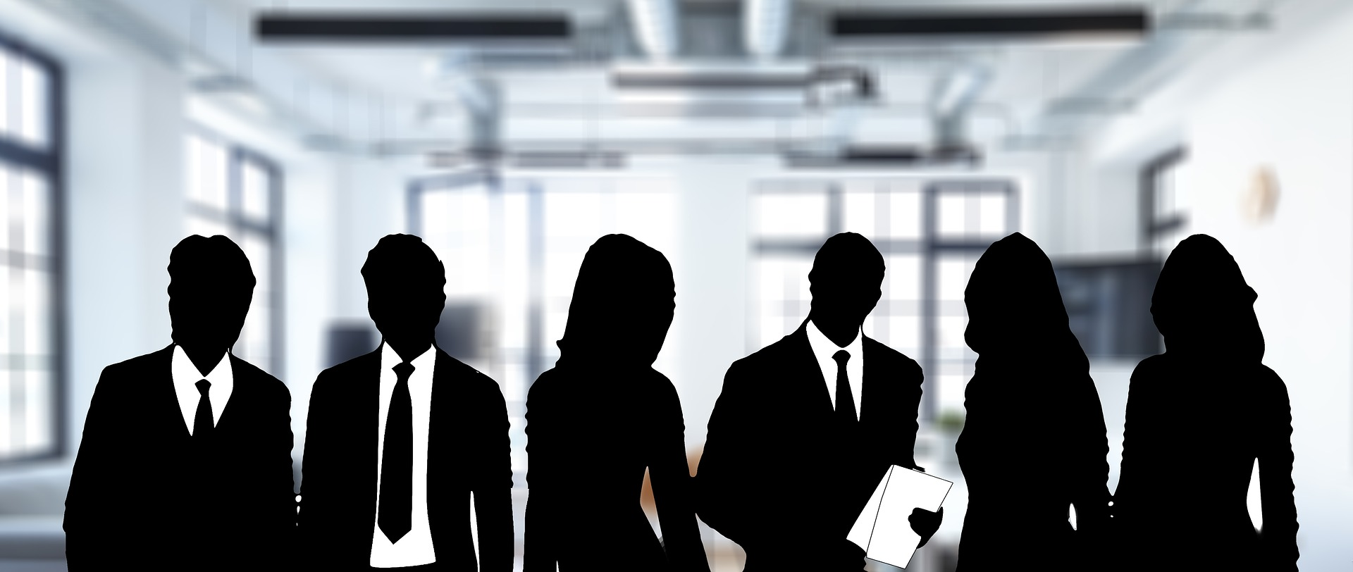 Silhouette group of professional people